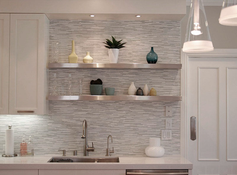 Delightful Kitchen With Floating Shellf also Glass Pendant Light Fixture
