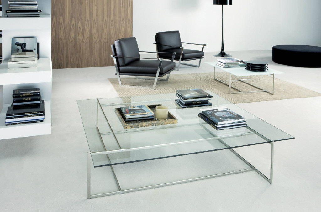 Delightful Shelve near Square Modern Glass Coffee Table and Chairs