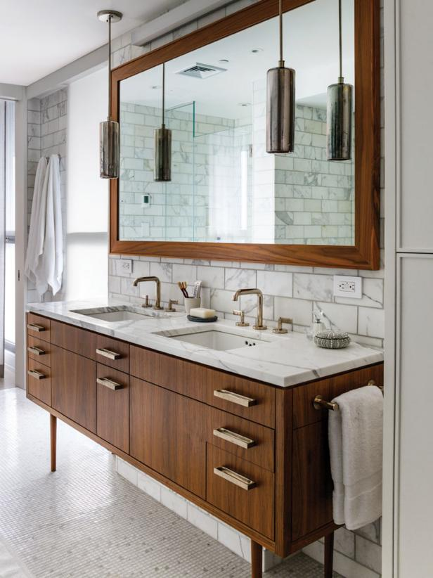 Delightful Wooden Vanity also Marble Top Plus Mirror again Pendant Lighting