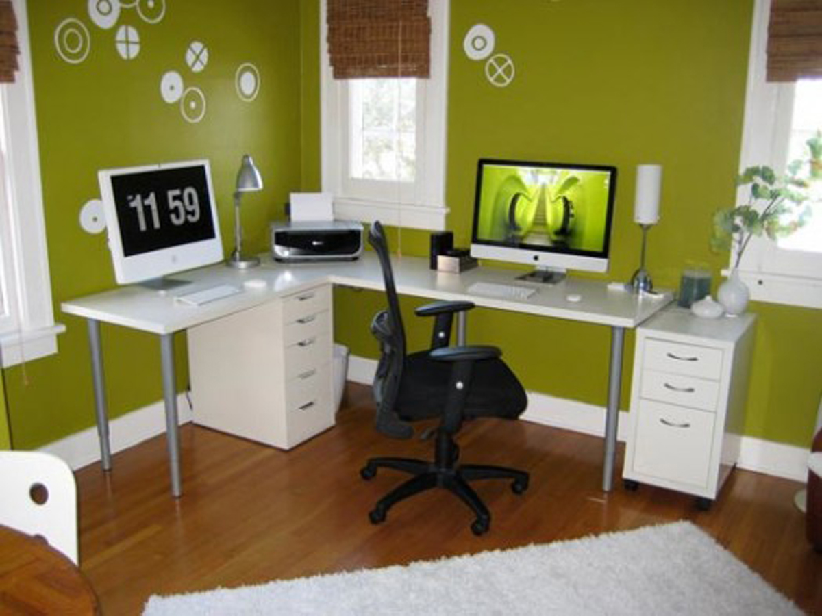 Elegant Design Of The Brown Wooden Floor Office Ideas With White Rugs And Green Wall Ideas As The Small Office Ideas