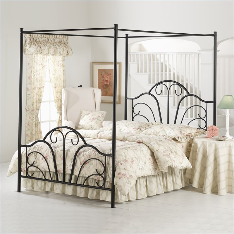 Elegant Design Of The Canopy Bed With White Bed And Black Iron Bed Bones Ideas Added With White Wall And Floor Ideas