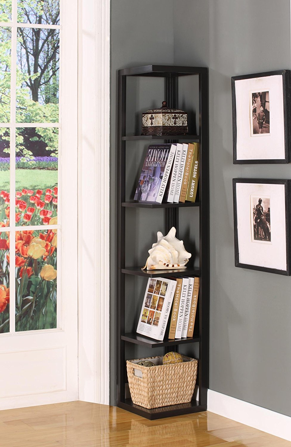 Elegant Design Of The Grey Wall Ideas Added With Black Wooden Corner Shelves Ideas