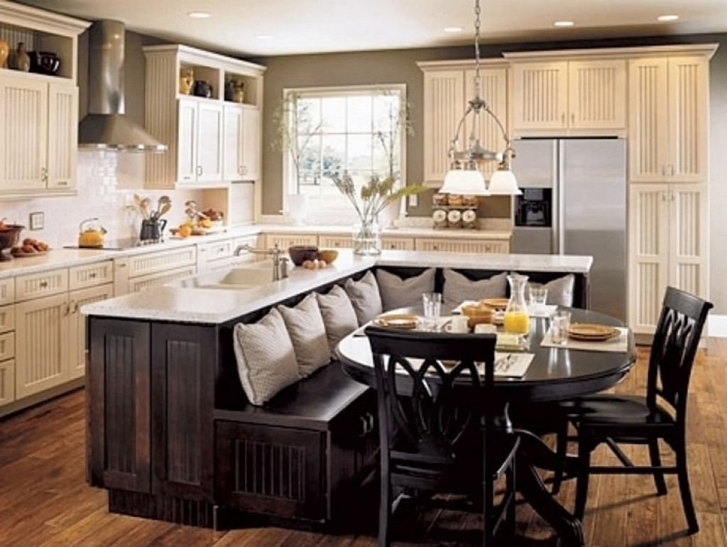 Elegant Design Of The Kitchen Areas Added With Black Wooden L Kitchen Island Ideas With Black Chairs