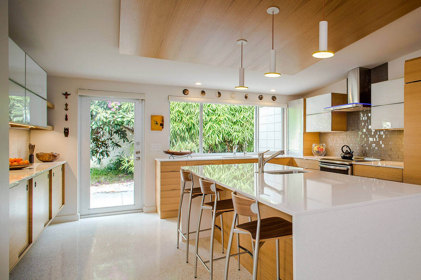 Elegant Design Of The Mid Century Modern Kitchen With White Marble Kitchen Island Added With White Floor Ideas