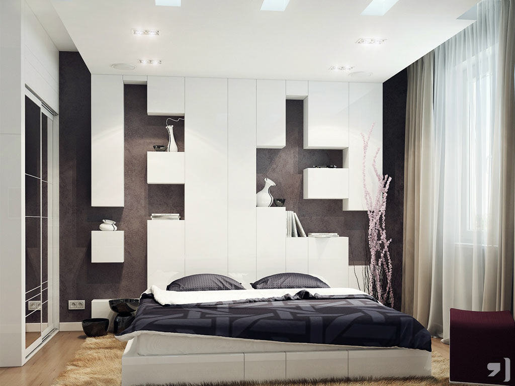 Elegant Design Of The White Curtain Added With White Wall And Brown Wooden Floor As The Modern Bedroom Ideas