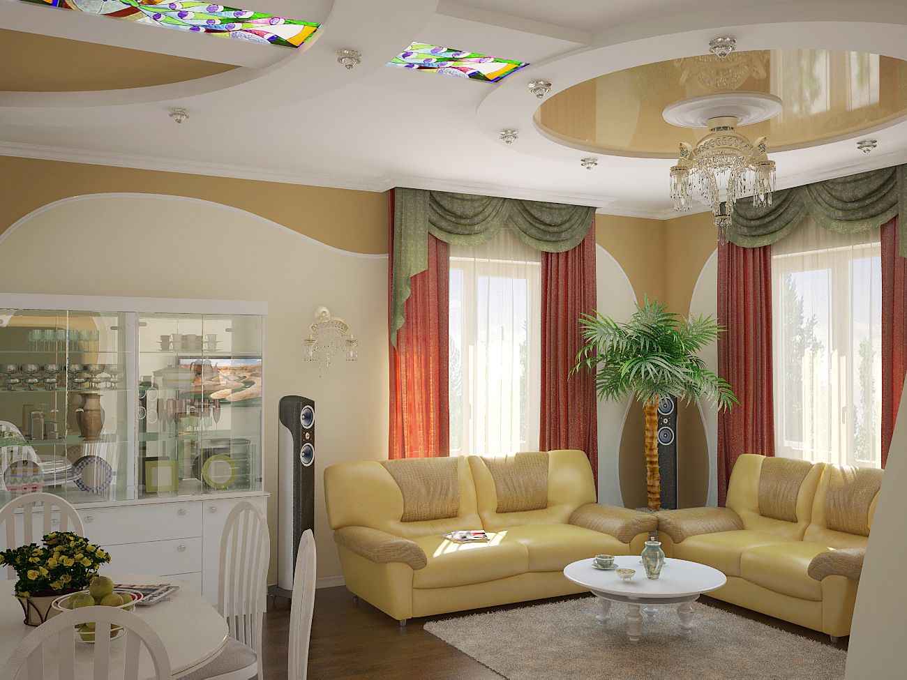 Excellent Sitting Room Ideas With Sofa and Table Plus Chandelier
