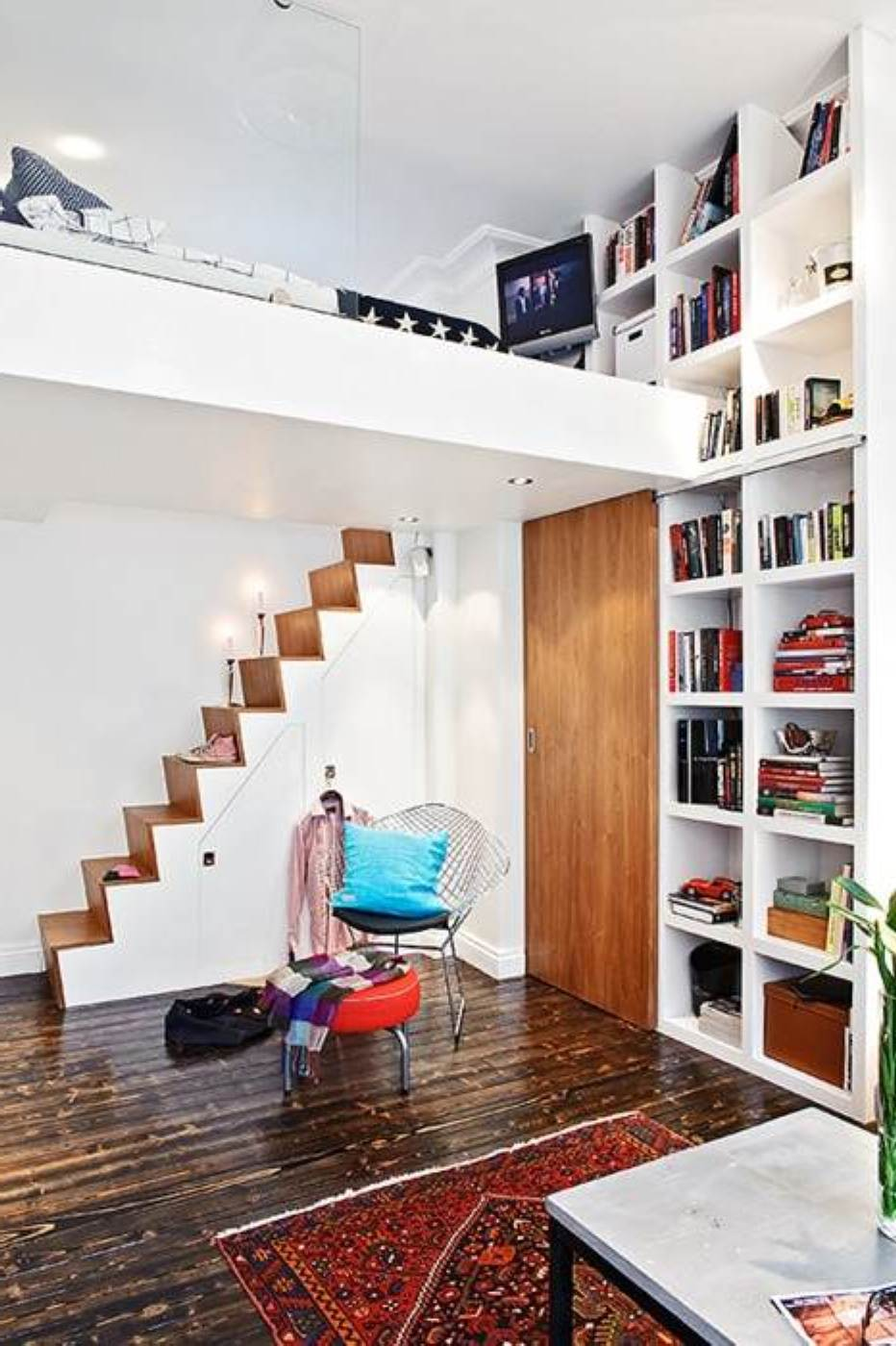 Exellent Furniture Accent with Simple Stair close Large White Wall