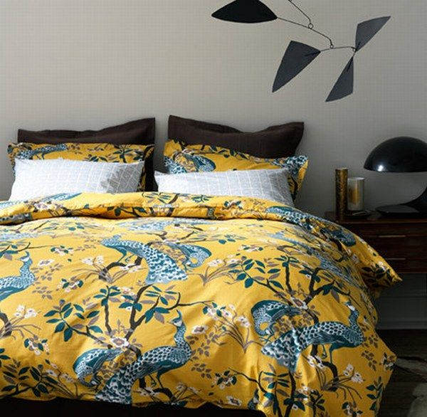 Fancy Bedroom Using Yellow Flowery and Animal Bedding Sets Decor