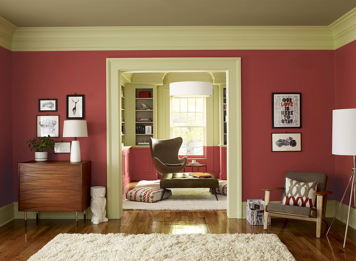 Fantastic Desig Of The Bedroom With White Rugs And Brown Wooden Floor With Red Wall Paint Colors