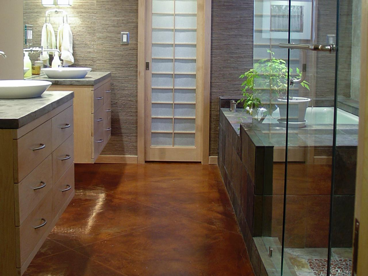 Fantastic Design Of The Bathroom Areas Added With Brown Marble Floor Ideas Added With Grey Wall And Young Brown Wooden Cabinets
