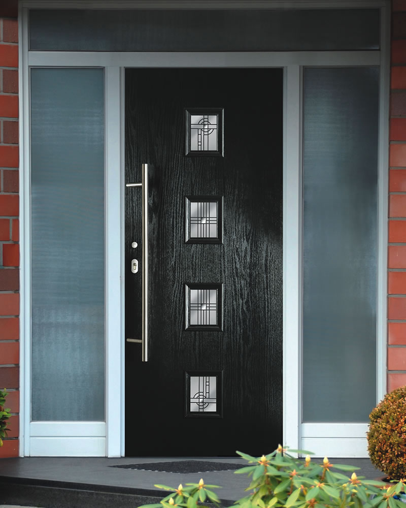Fantastic Design Of The Blak Wooden Modern Front Door Ideas With Long Knobs Ideas With Glass Windows Ideas
