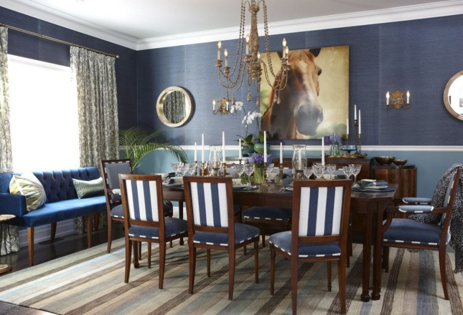 Fantastic Design Of The Blue Dining Room With Grey Wall Ideas Added Wth Blue Fabric Cough And White Ceiling Ideas