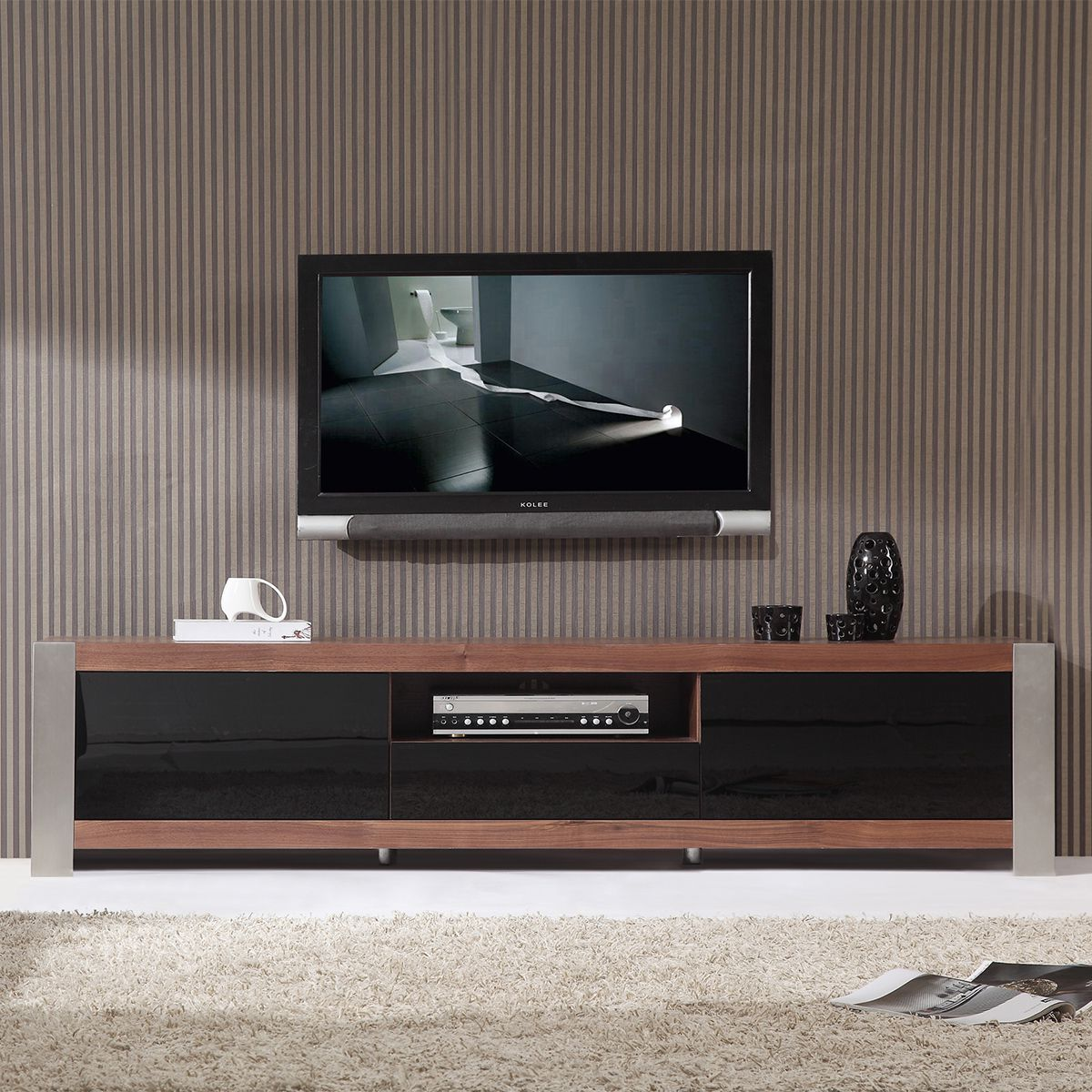 Fantastic Design Of The Contemporary Tv Stands With Grey Wall Added With Grey Rugs Ideas With Black Pots Ideas