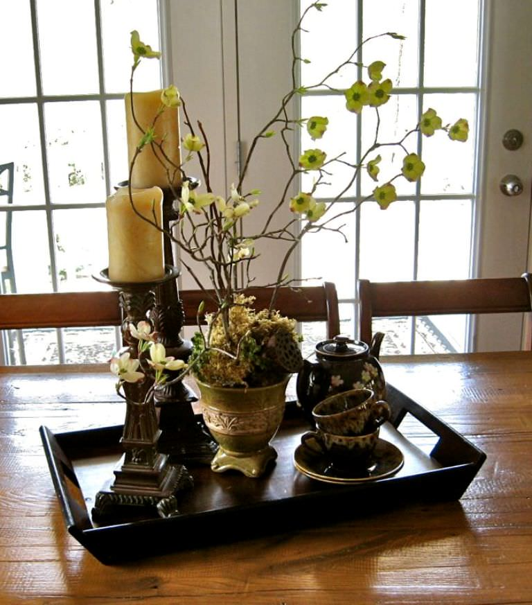 Fantastic Design Of The Dining Room Centerpieces With Brown Wooden Tabl Added With Bronze Chadeliers Ideas With Some Pots
