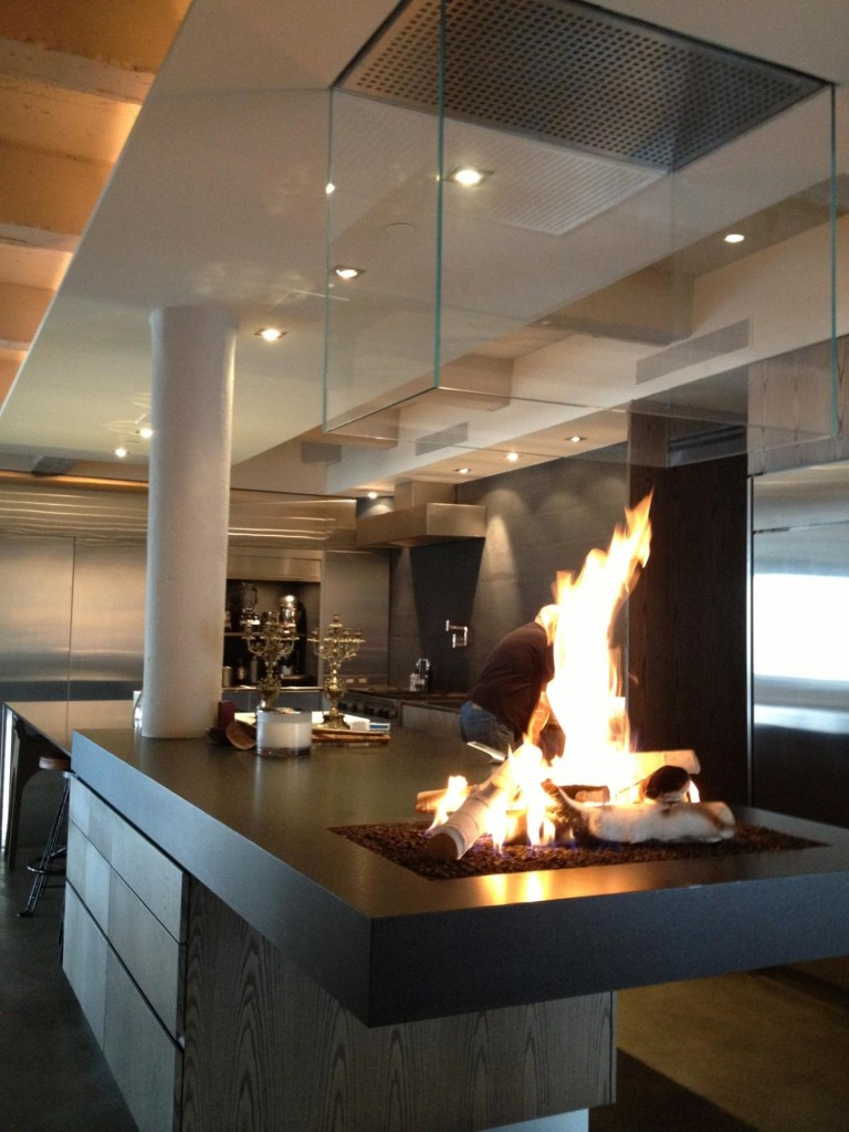 Fantastic Design Of The Kitchen Areas With Modern Gas Fireplace Cover With Glass Ideas