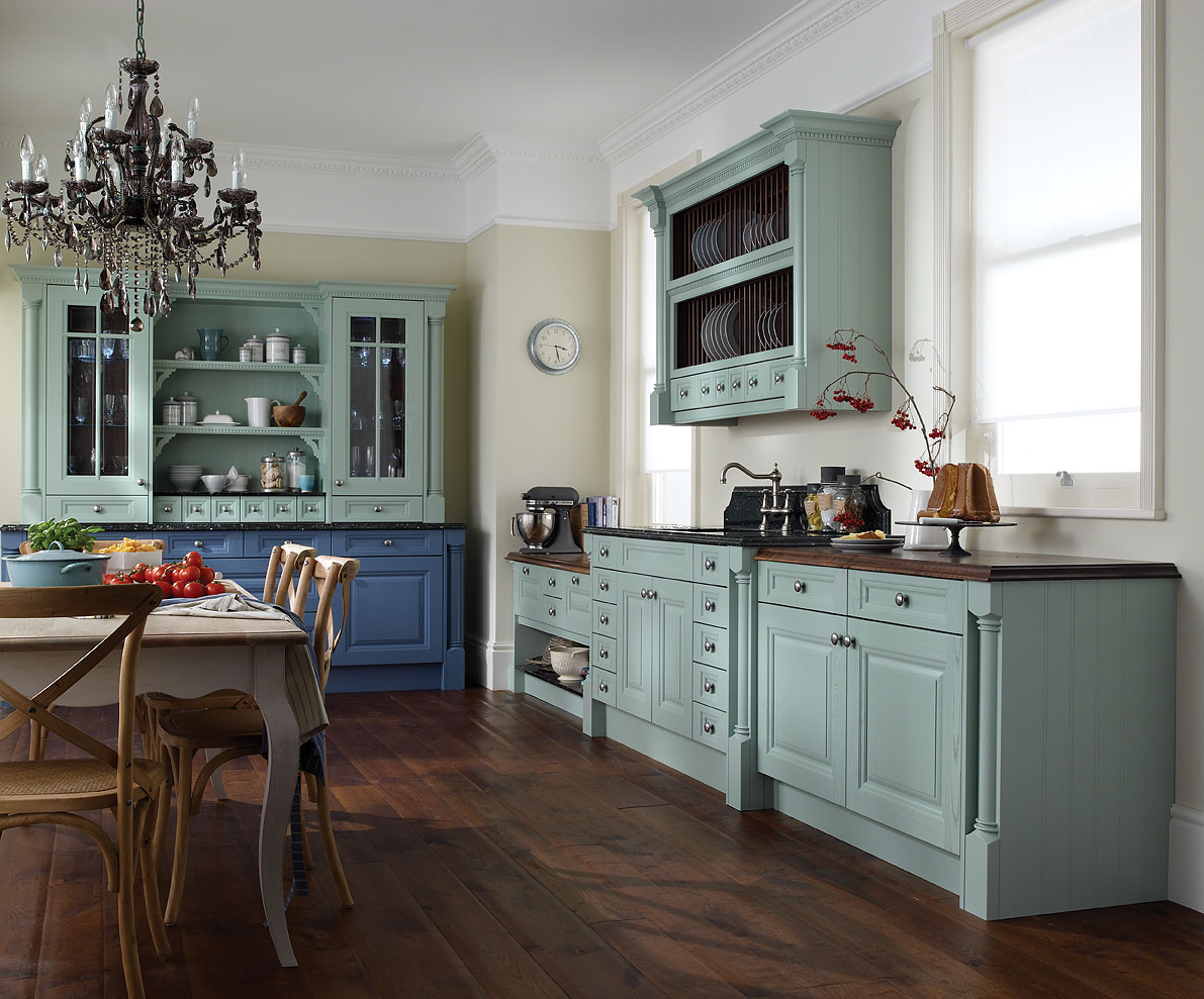Fantastic Design Of The Kitchen Areas With White Wall And White Ceiling Added With Blue Kitchen Cabinets