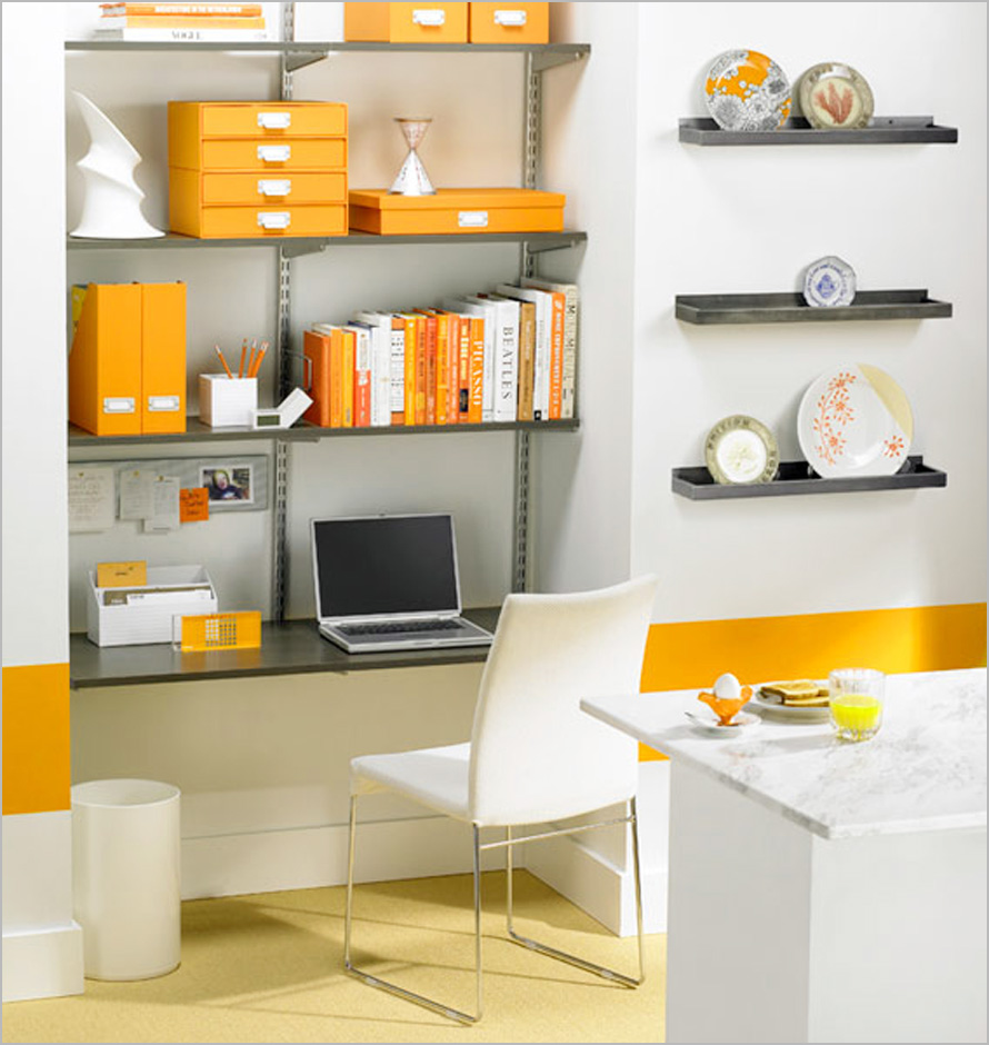 Fantastic Design Of The Narrow Small Office With White Wall And Orange Ideas Added With Floating Shelves Ideas