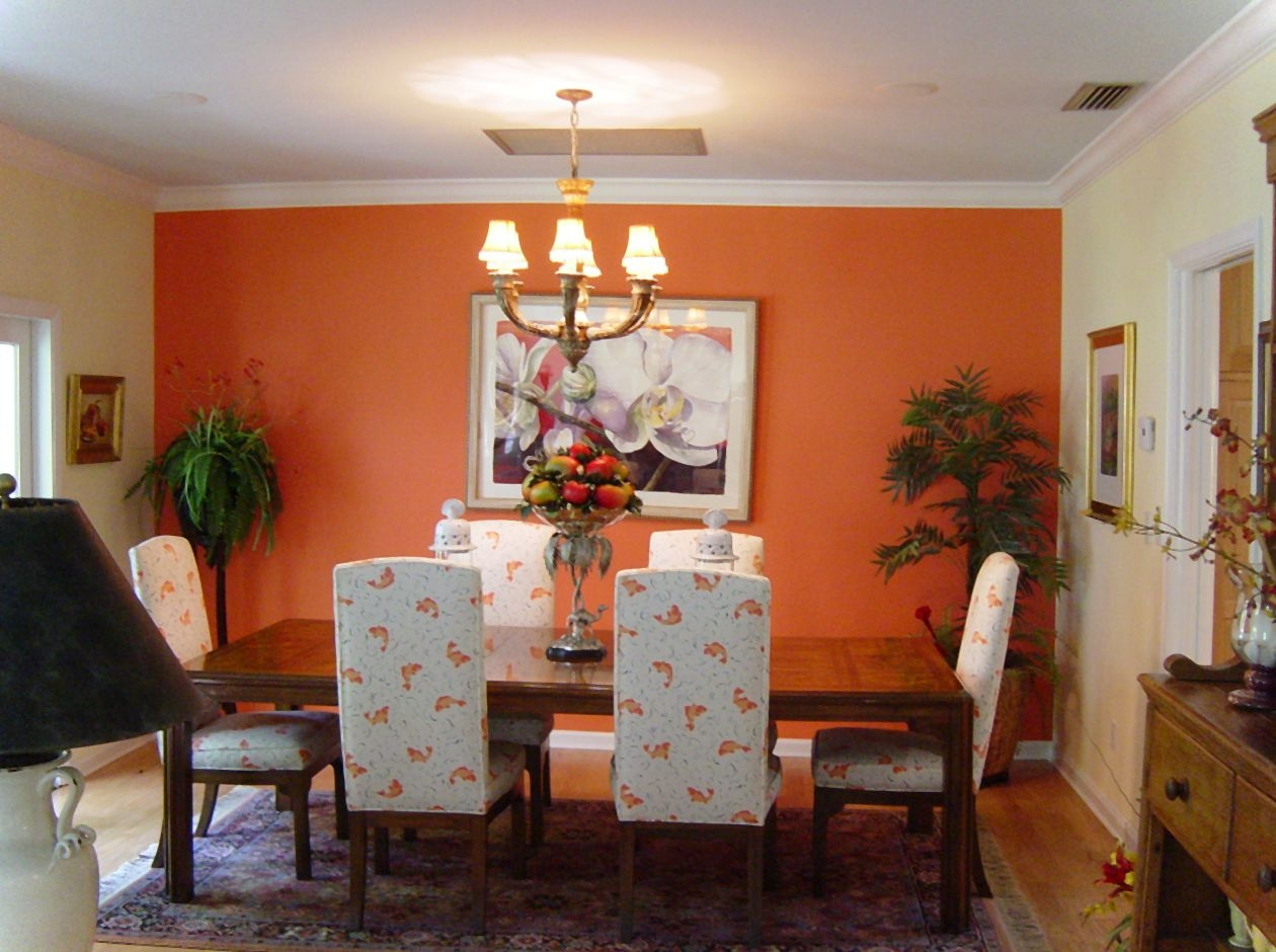 Fantastic Design Of The Orange Wall Added With White Ceiling And Chandeliers Ideas For Dining Room