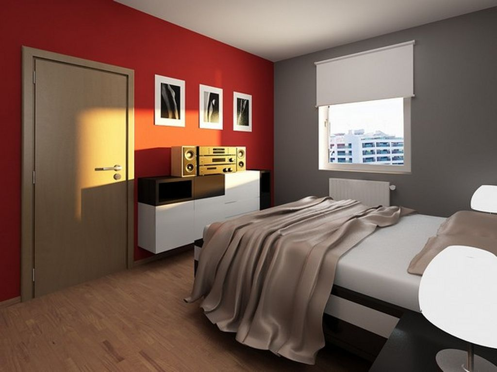 Fantastic Design Of The White Bed Ideas Added With Brown Wooden Floor And Red Wall And Grey Wall As The Ideas Of Small Bedroom