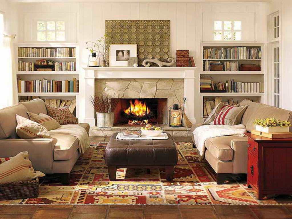 Fantastic Design Of The White Wall Added With White Shelves Ideas With Brown Leather Table Ideas As The Barn Living Room Ideas