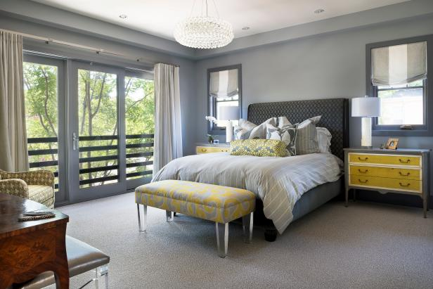 Fantastic Interior Grey And Yellow Bedroom With Bed also Bench