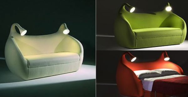 Frantic Style Of Chair Bed Using Lush Seat and Two Lamps