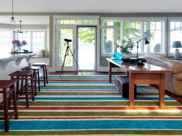 Frantic Style of Colorful Area Rugs With Bar Chair and Coffee Table
