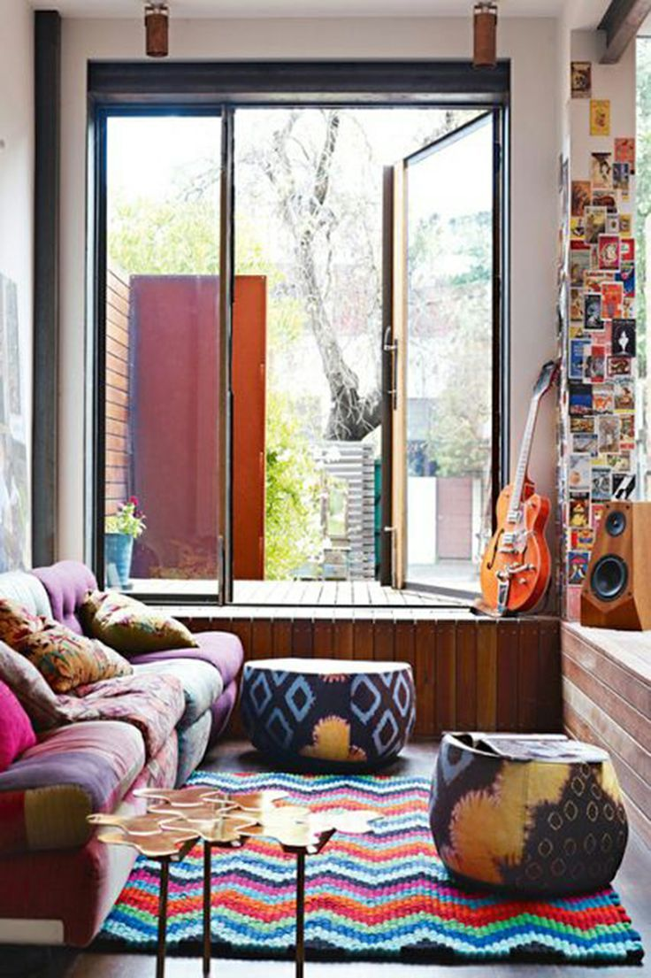 Funny Small Interior Decorating Ideas with Colorfull Accent in Furniture plus Glass Window
