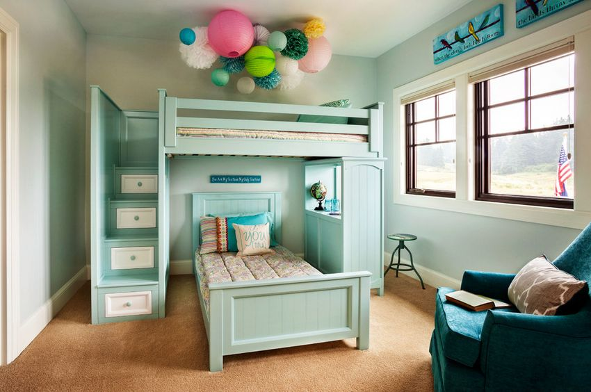 Graceful Bunk Bed under Colorful Balloon Ceilling Decor and Chair