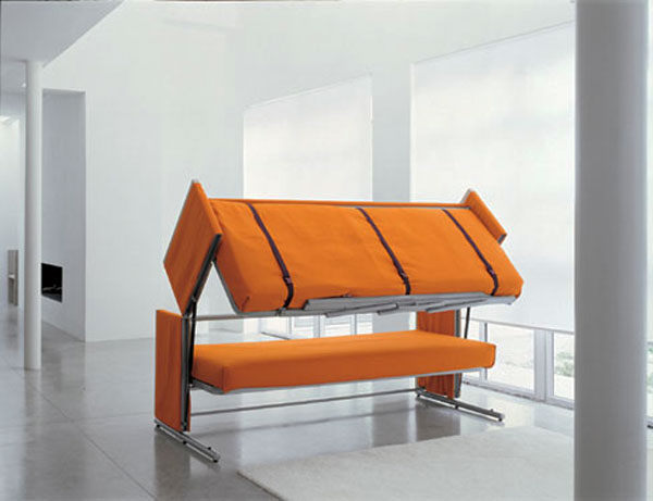 Graceful Furniture of Orange Chair Bed With Metal Legs DEsign