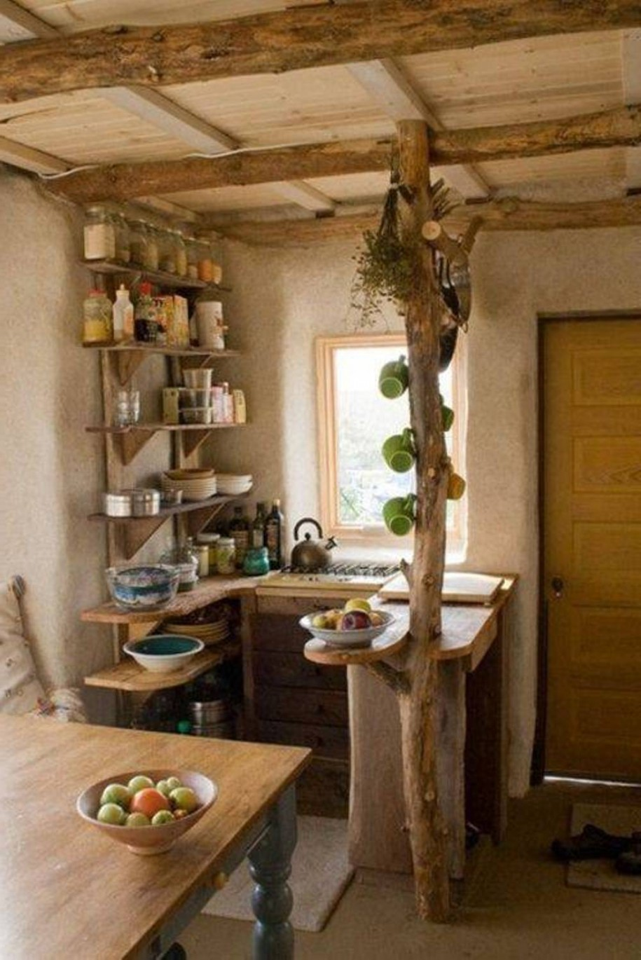 Graceful Mounted Shelve And Cabinet For Chic Rustic Kitchen Ideas