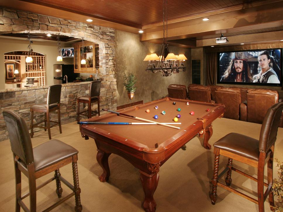 Grand Billiard Table And Chairs Also LED TV Plus Chandelier