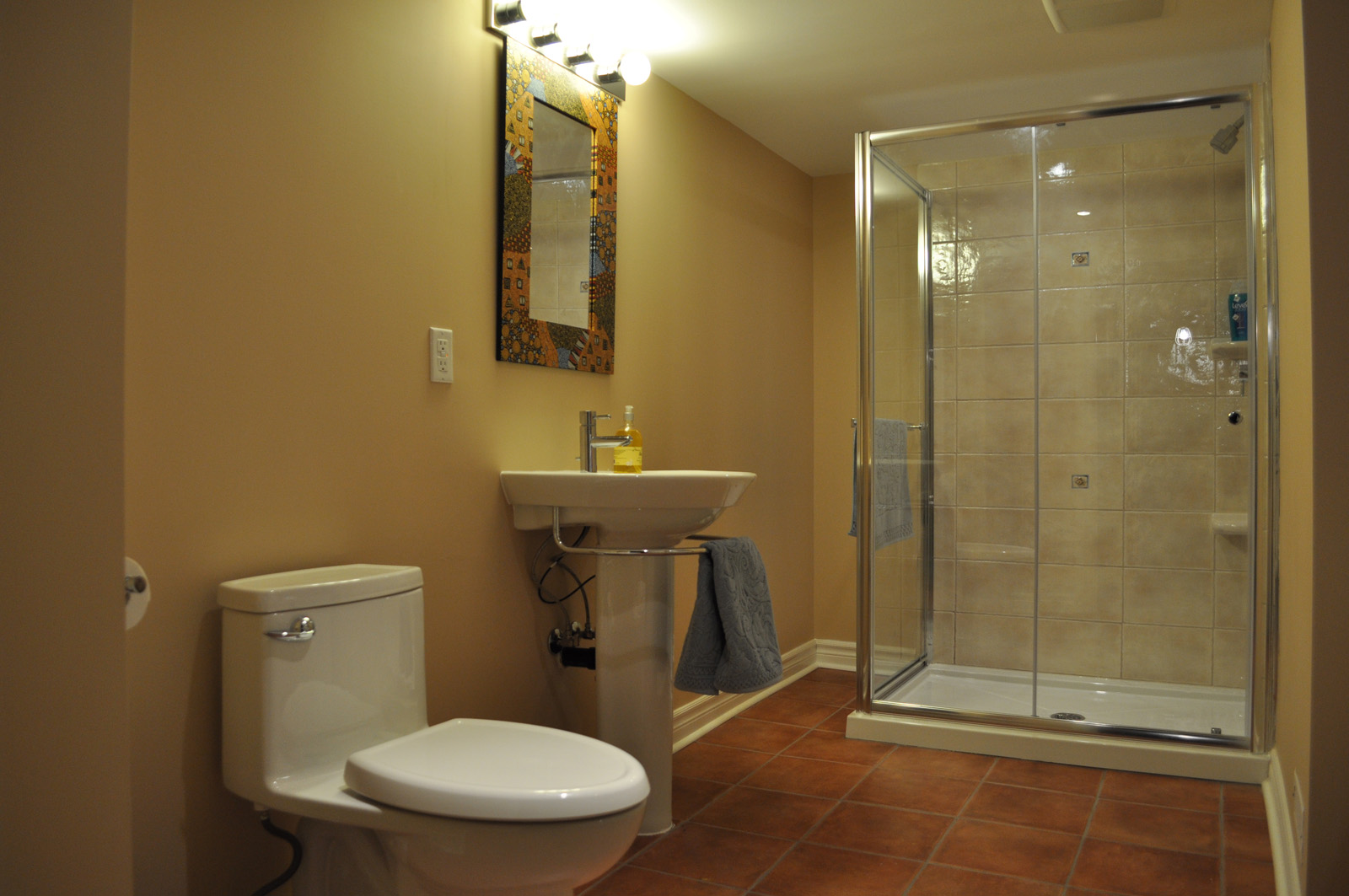 Great Basement Bathroom Design With Shower Area also Sink Near Toilet