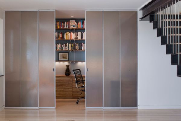 Horrible Room Decor Using Modern Sliding Door With Invisible Glass