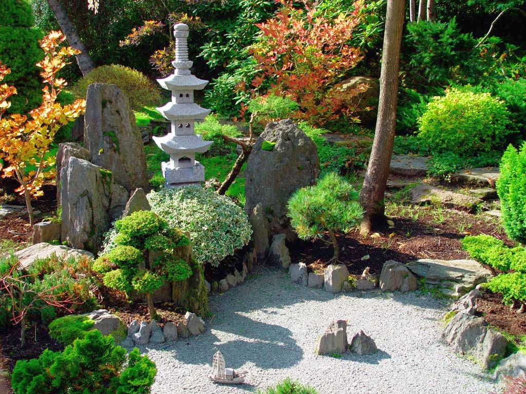 Hunky Garden Decor With Plants and Trees also Pebble