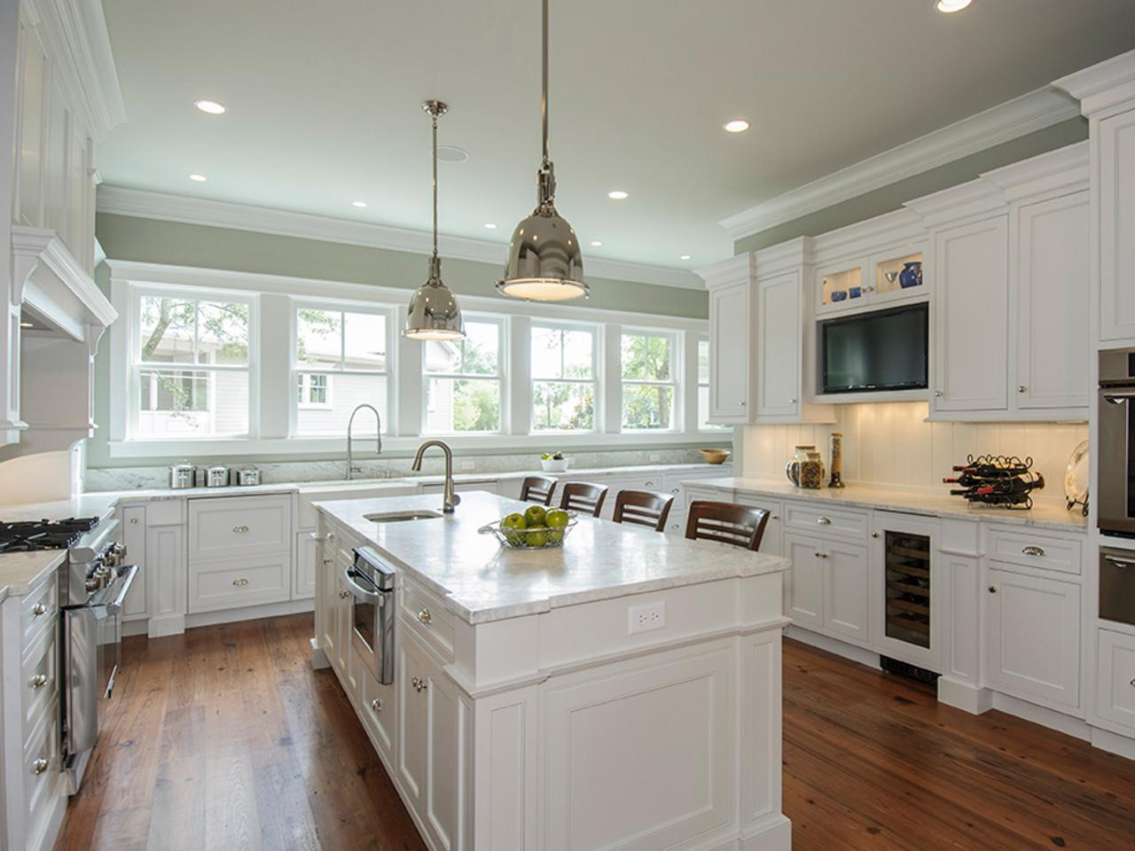 Ideal Design of White Cabinets Kitchen also Shiny Top and Ligh Fixture