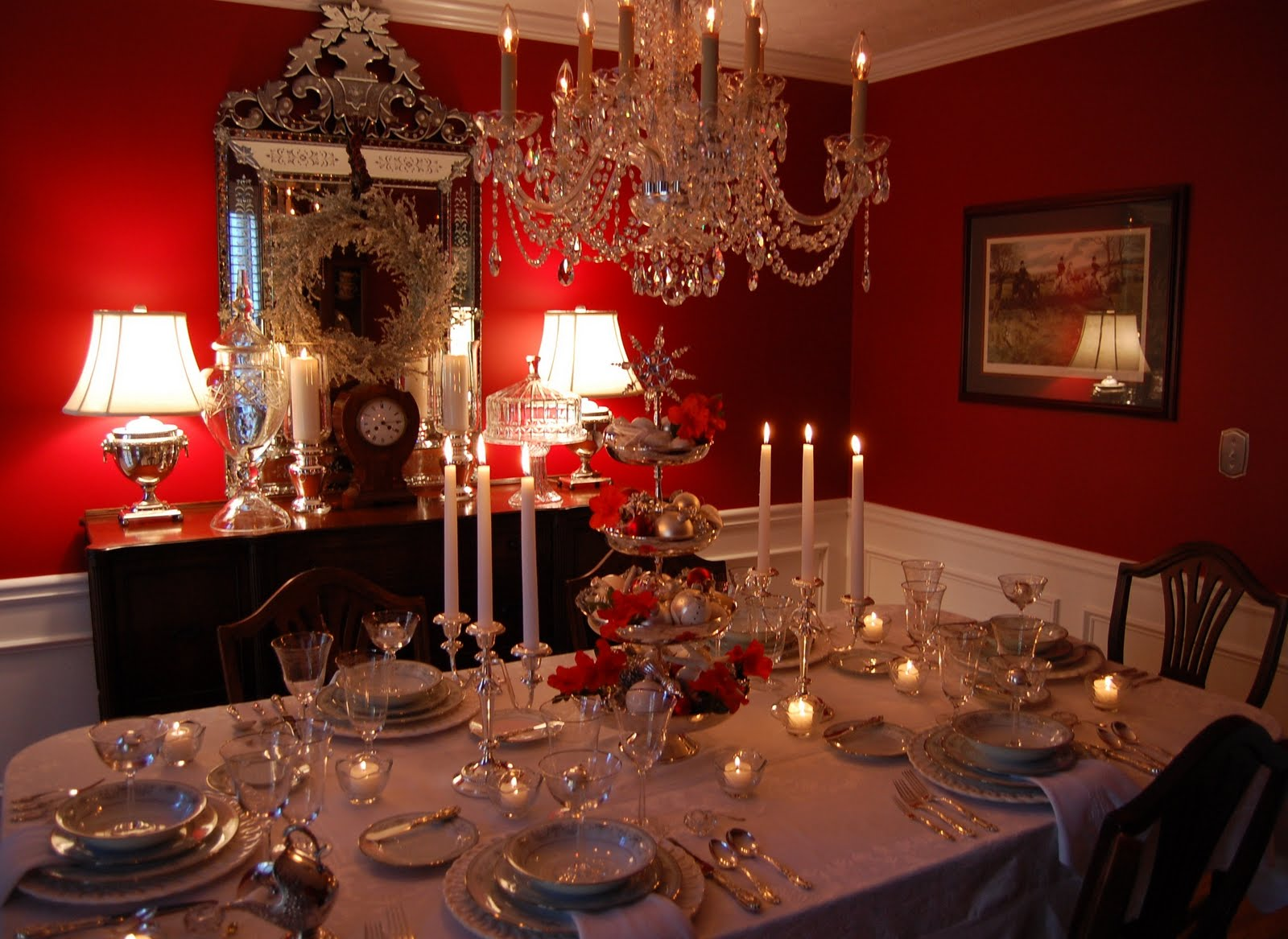 Interesting Dining Room With Neat Lighting Table Decor under Chandelier