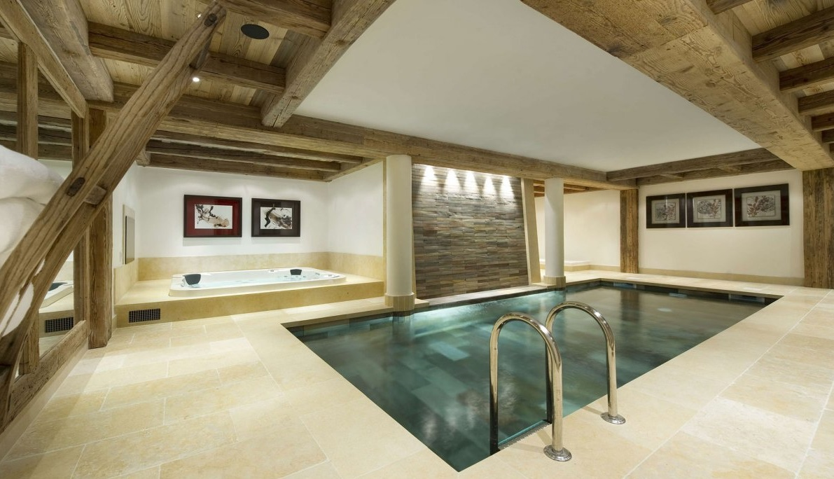 Interesting Indoor Swimming Pool With Lush Floor Tile Designs for Deck