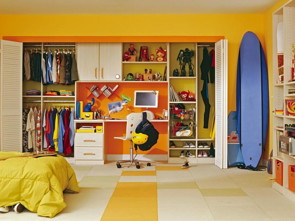 Interesting Kids Room With Clothes Storages Ideas also Study Table