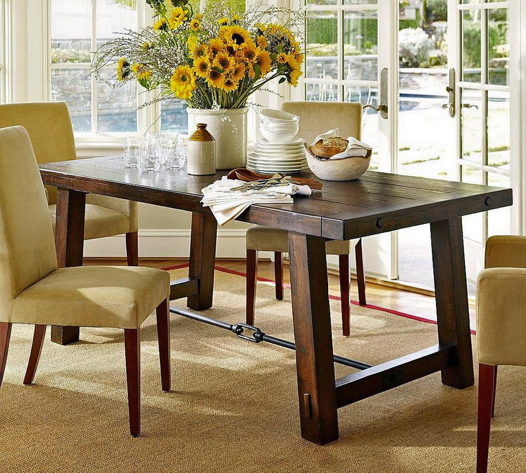 Simple Kitchen Table Centerpiece Ideas Part - 30: Interesting Sunflowers On Vaase For Lavish Wooden Dining Table Decor