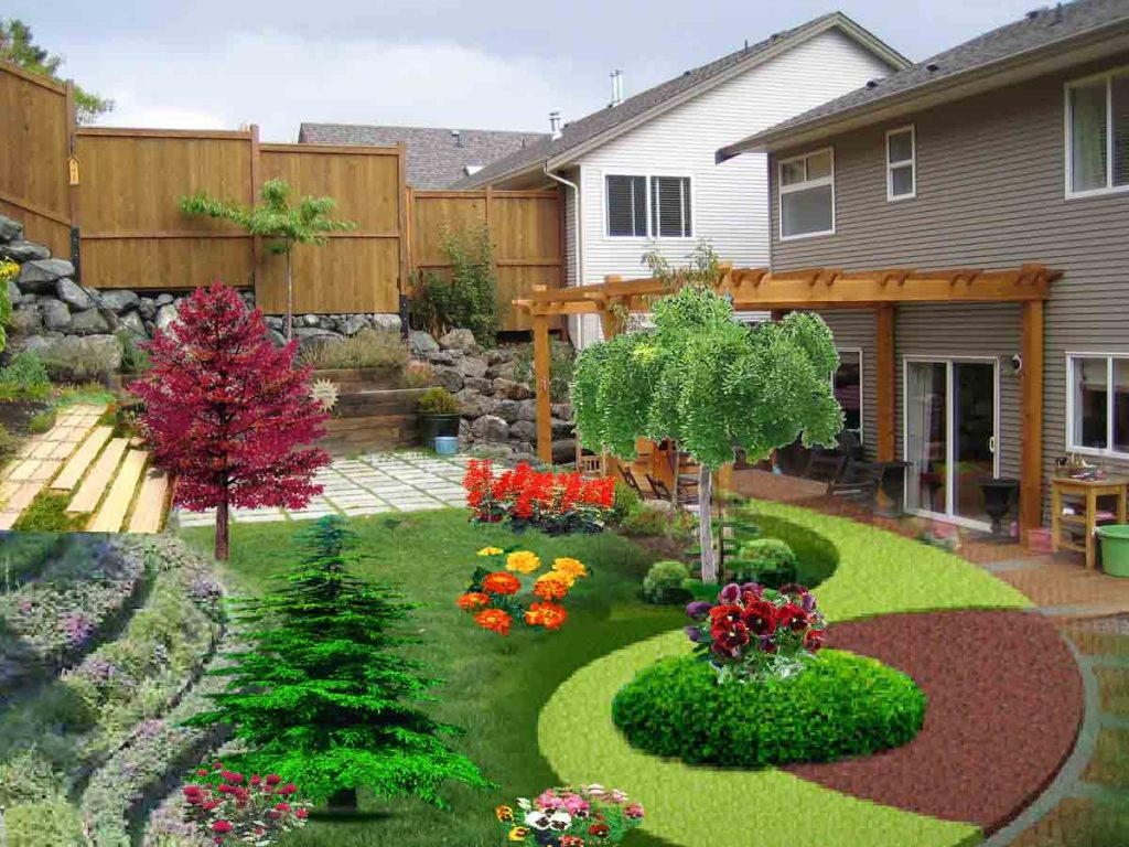 Lovely Backyard Using Open Deck Plus Trees and Grasses Decor