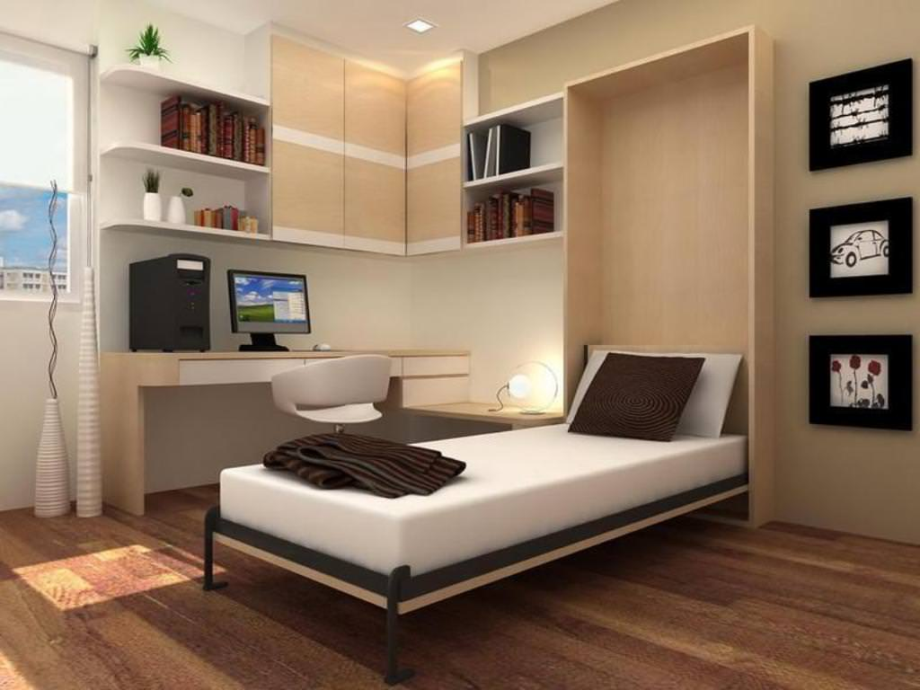 Lovely Design Of The Bedroom Areas With Brown Wooden Floor Added With White Bed Murphy Ideas