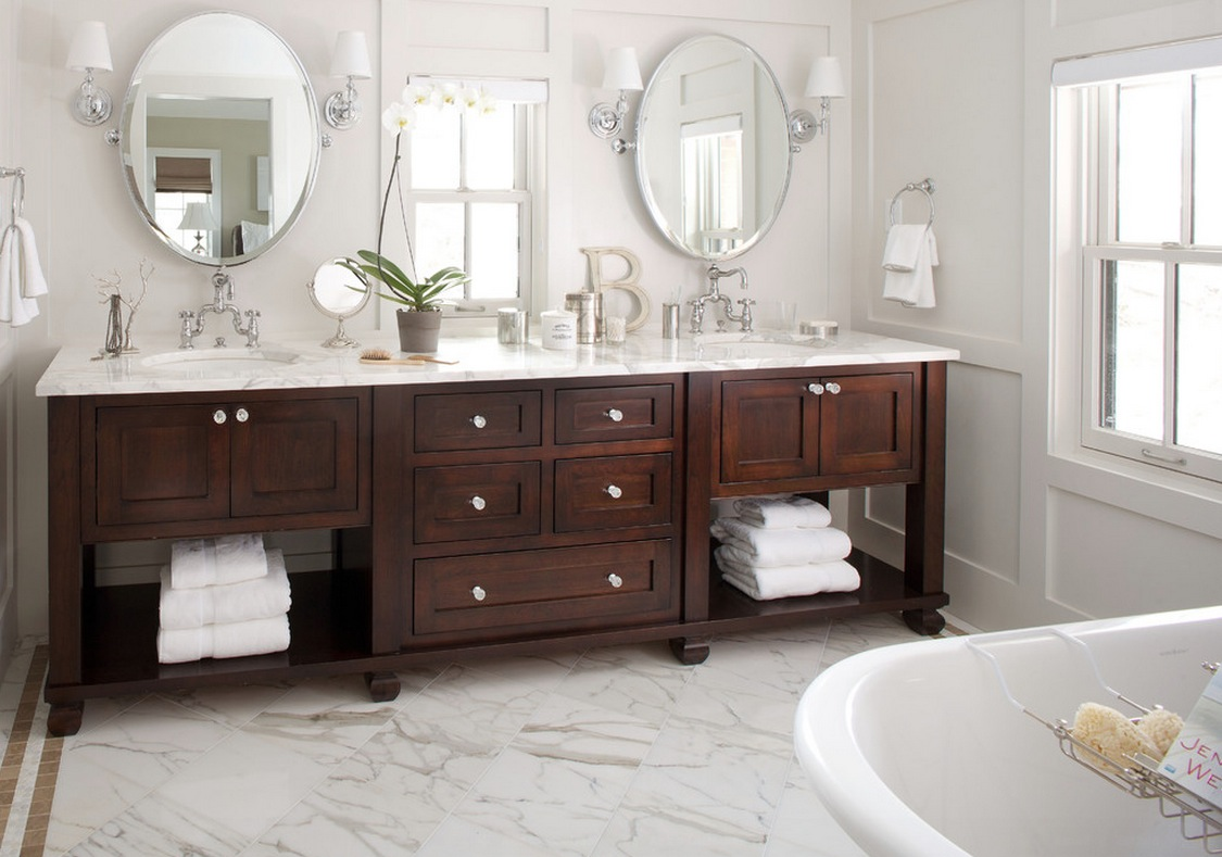 Lovely Design Of The Brown Wooden Cabinets Added With Double Sink And Mirror Ideas As The Bathroom Renovation Ideas