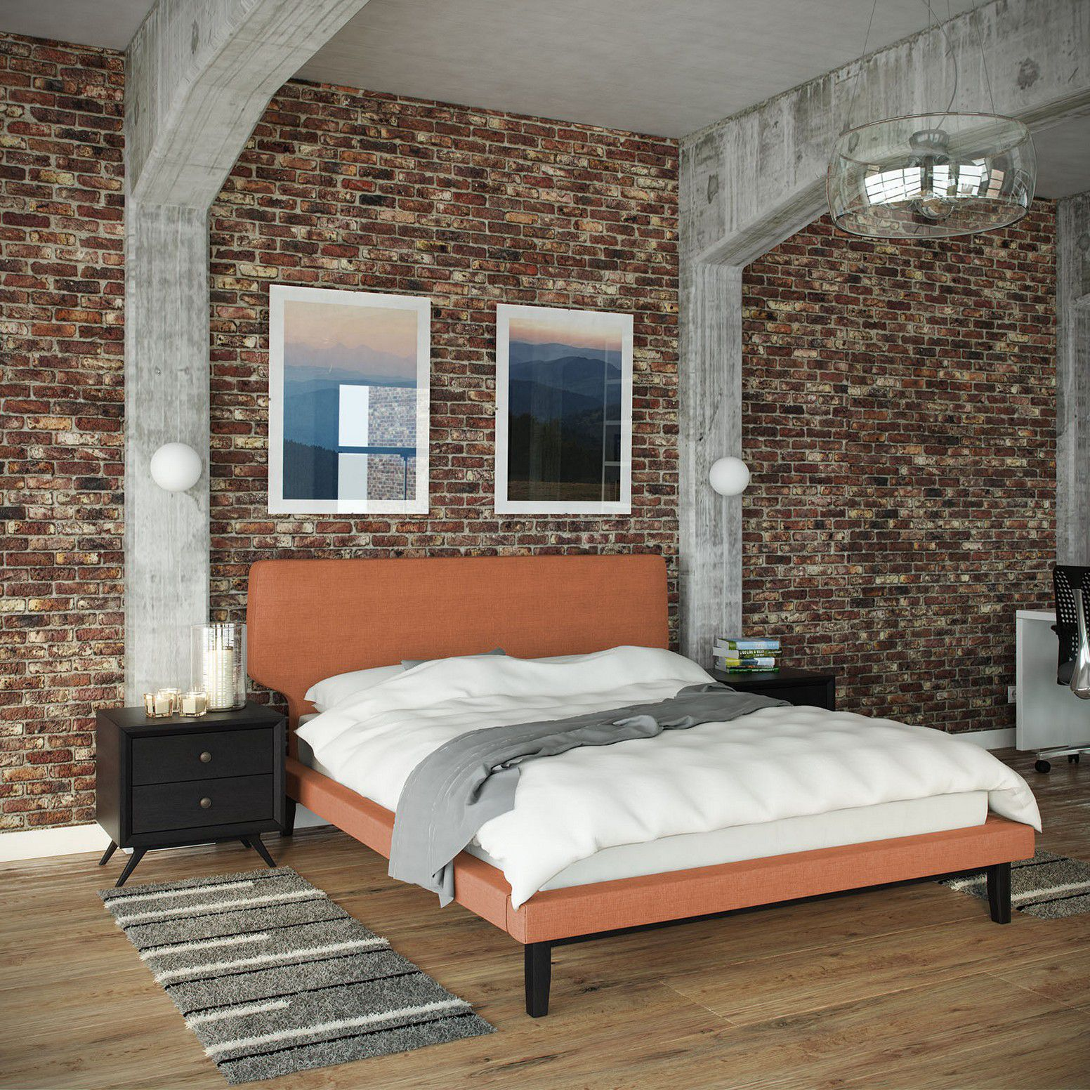 Lovely Design Of The Brown Wooden Floor Added With Grey Tile Wall Ideas As The Bedroom Small Areas