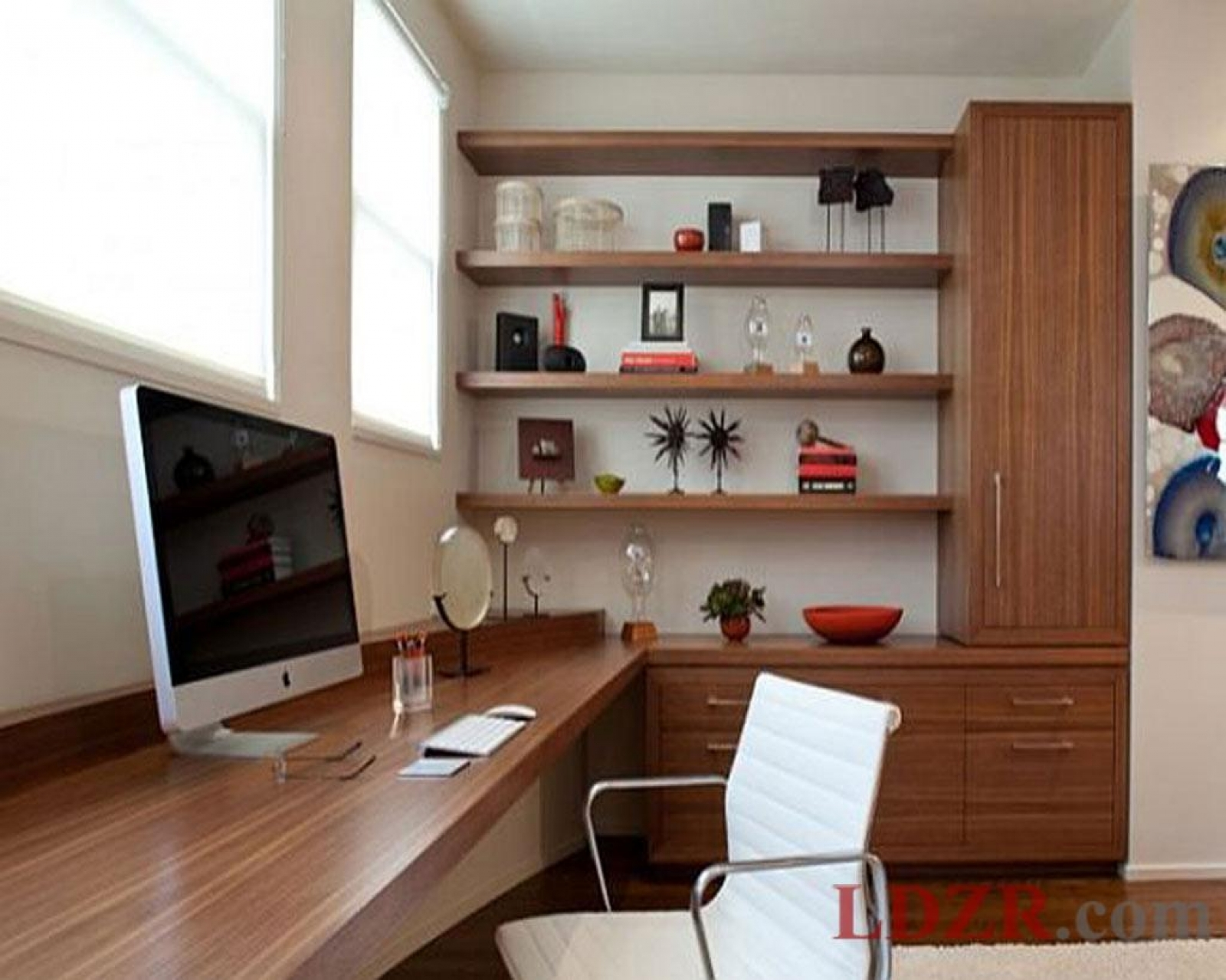 Lovely Design Of The Brown Wooden Shelves And Table Ideas With White Chairs And White Wall As The Narrow Office Ideas