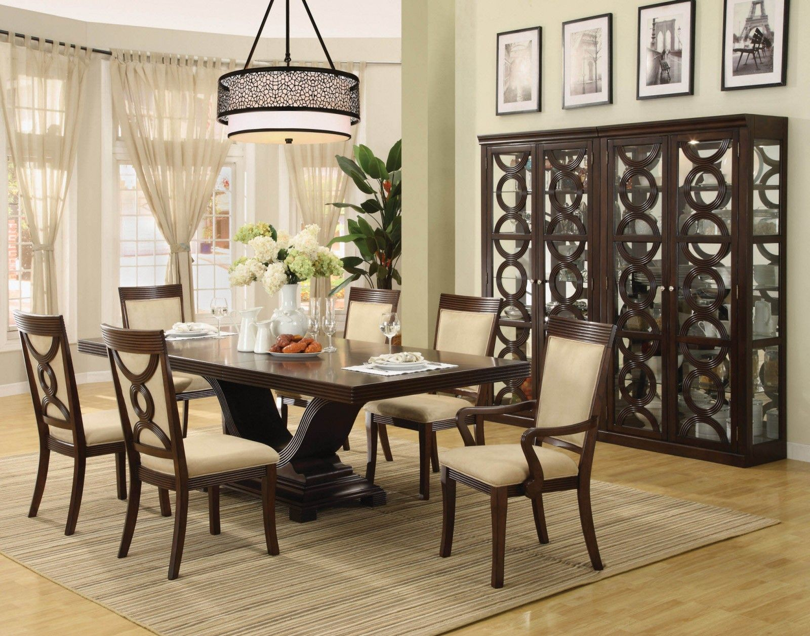 Lovely Design Of The Dining Room Areas With Green Wall Added With Brown Wooden Dining Table With Dining Table Ideas