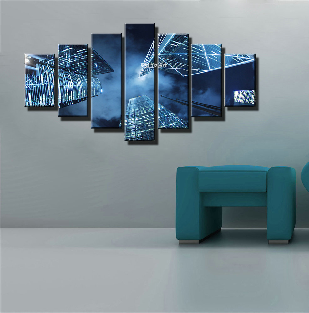 Lovely Design Of The Grey Wall Ideas Added With Blue Fabric Sofa With Blue Large Canvas Wall Art