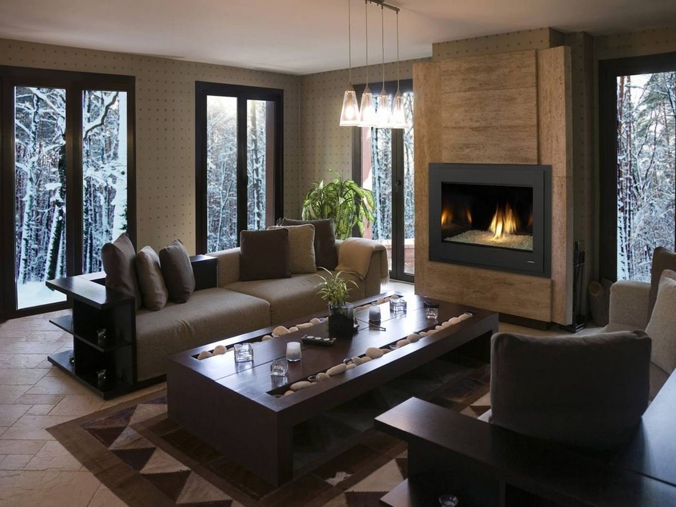 Lovely Design Of The Living Room Areas With Brown Wooden Mantels For Modern  Fireplace Ideas