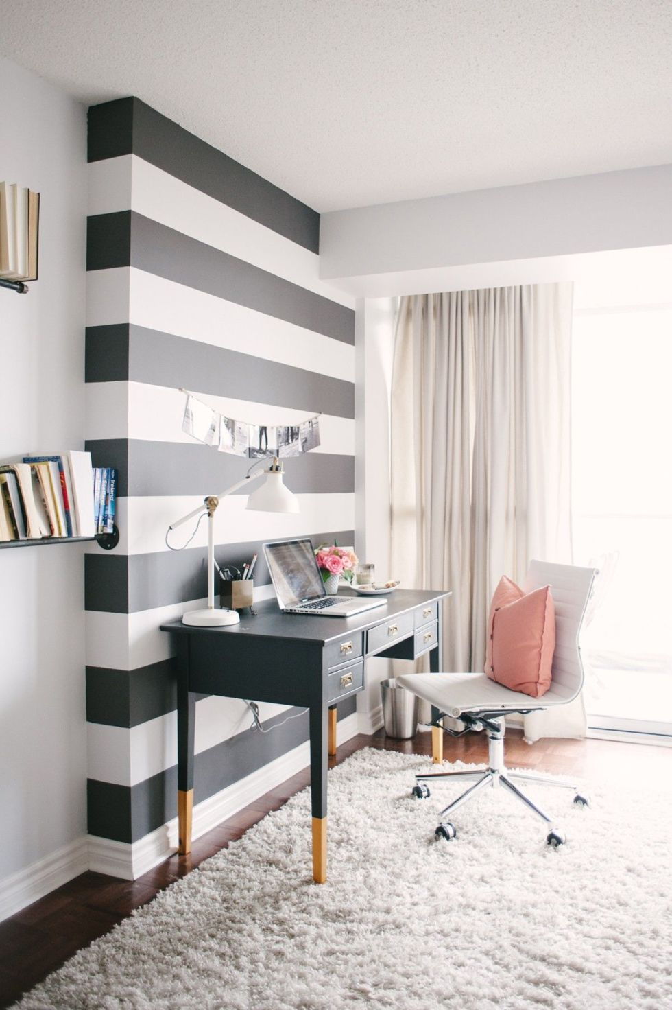 Lovely Design Of The White And Black Stripe Wall With White Ceiling And White Rugs For Office Areas Ideas