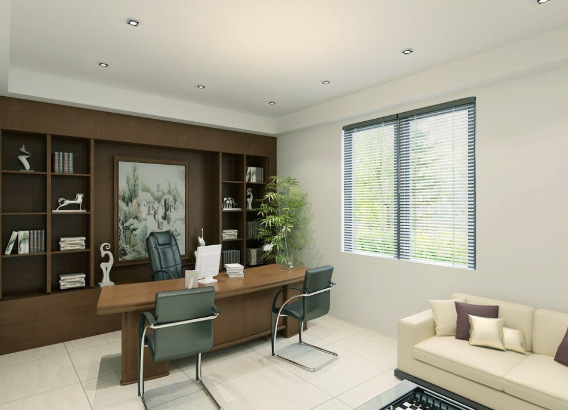 Lovely Design Of The White Wall Ideas With Brown Wooden Shelves And Desk Ideas As The Office Areas Ideas